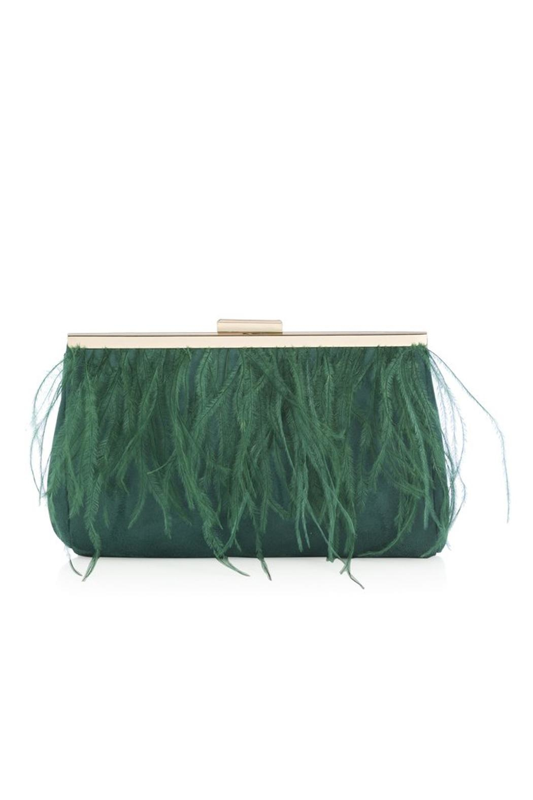 Shiraleah Green Feather Clutch - Front Full Image