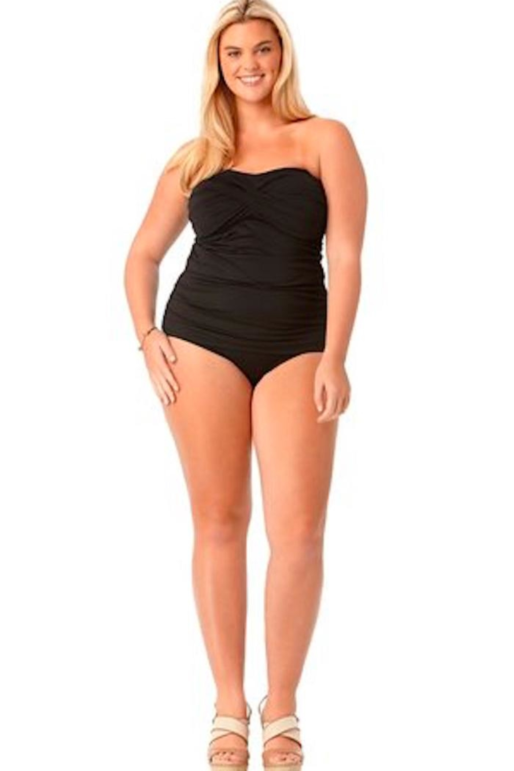 Anne Cole Signature Shirred Front Tankini - Front Cropped Image