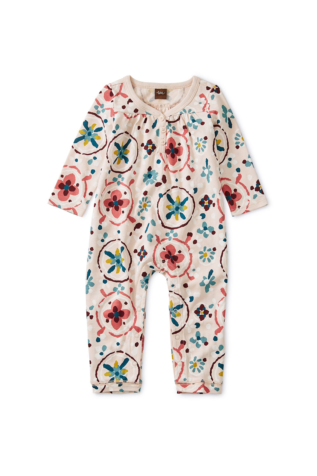 Tea Collection Shirred Henley Romper - Main Image