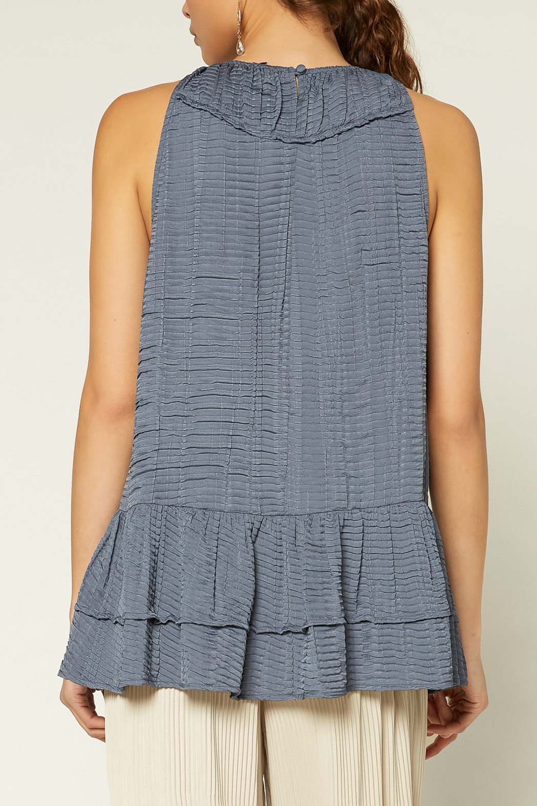 Current Air  Shirred Round Neck Halter Top - Front Full Image