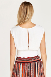 Apricot Shirred Waist Crop Top - Front full body