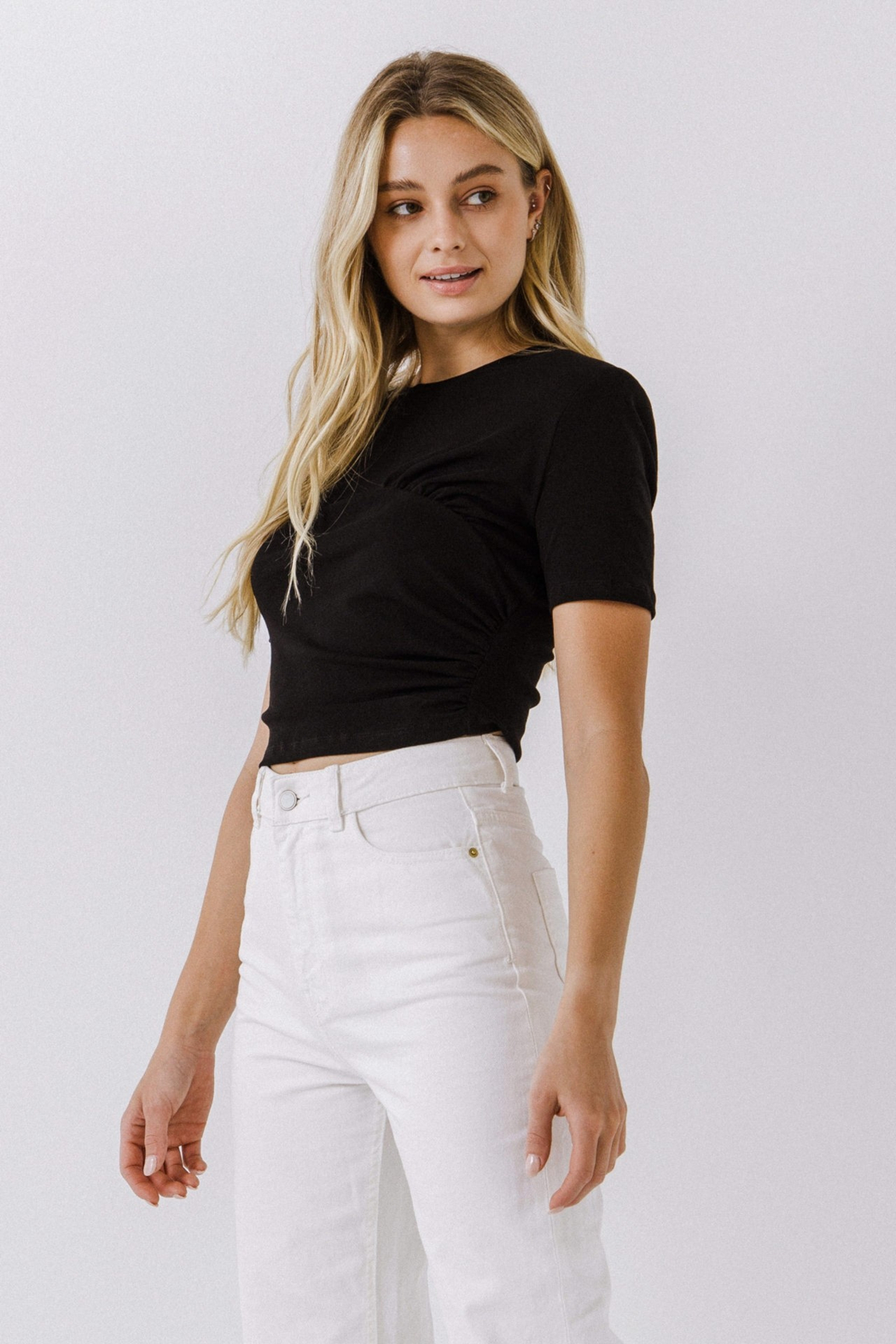 2.7 August Apparel  Shirring Detail Top - Front Full Image