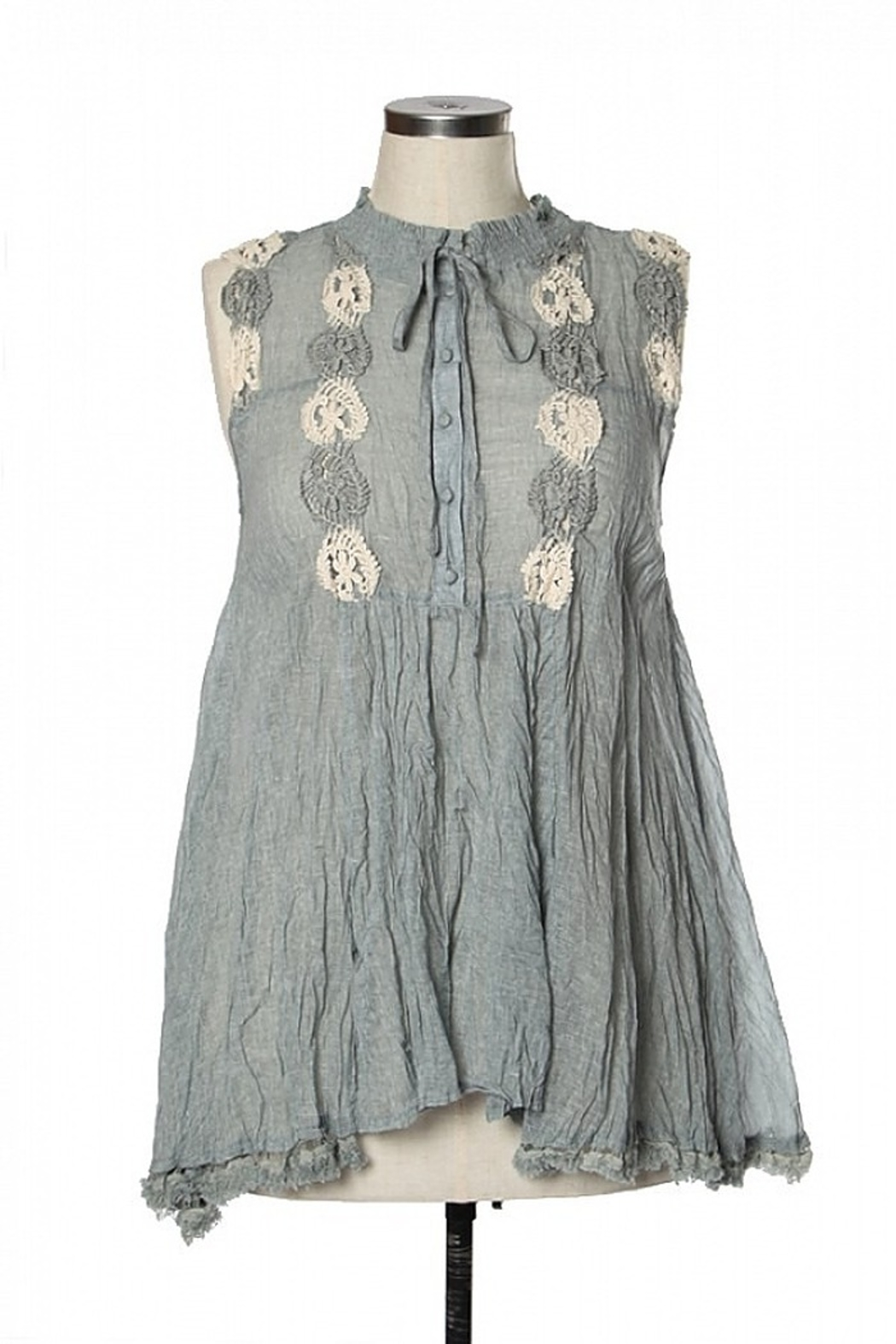 Ryu Shirring Embroidered Tunic - Front Cropped Image