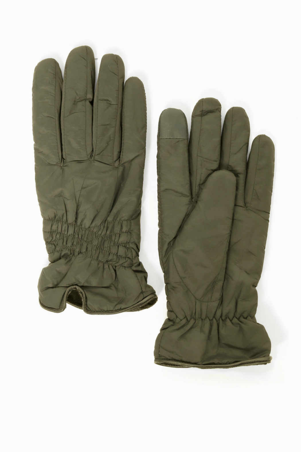 Look by M Shirring Puffer Gloves - Front Cropped Image