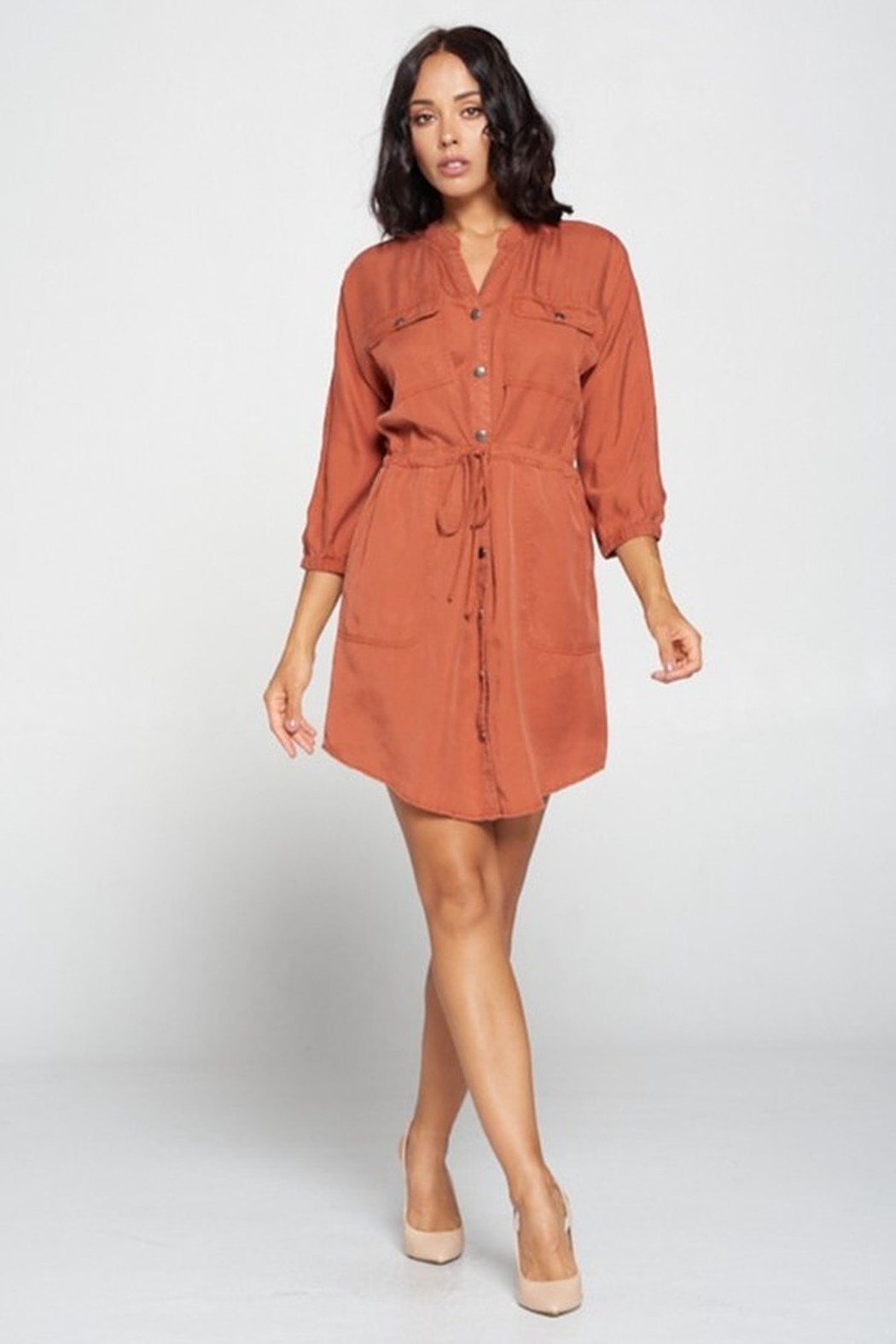 Cest Toi Shirt Dress - Front Cropped Image