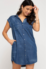 She and Sky SHIRT DRESS WITH POCKETS - Product Mini Image