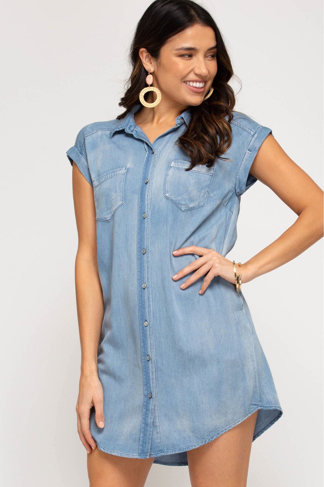 She and Sky SHIRT DRESS WITH POCKETS - Front Cropped Image