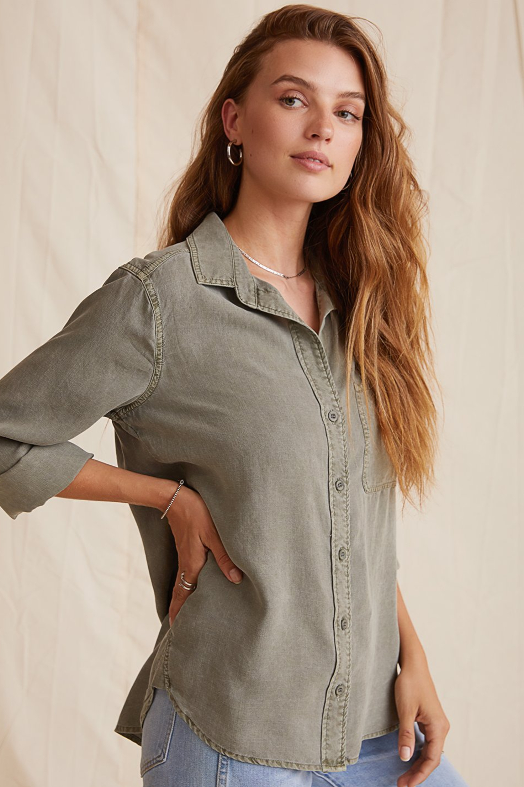Bella Dahl  Shirt Tail Button Down - Front Full Image