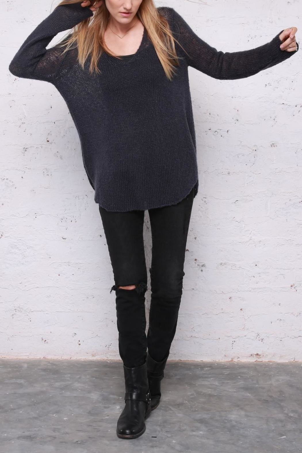 Wooden Ships Shirt-Tails V-Neck Sweater - Front Full Image