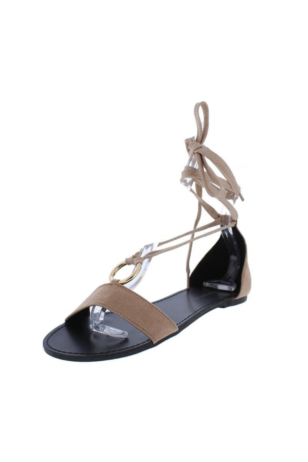 Shoe Republica Taupe Flat Sandal - Front Full Image