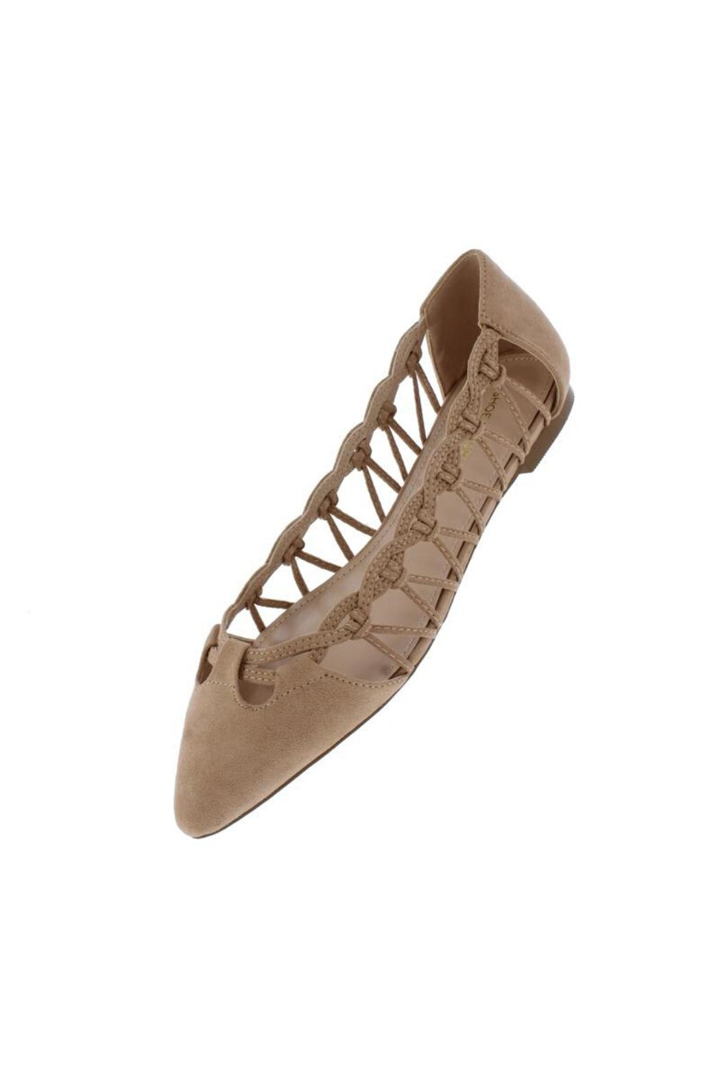 Shoe Republica Woven Taupe Flat - Front Full Image