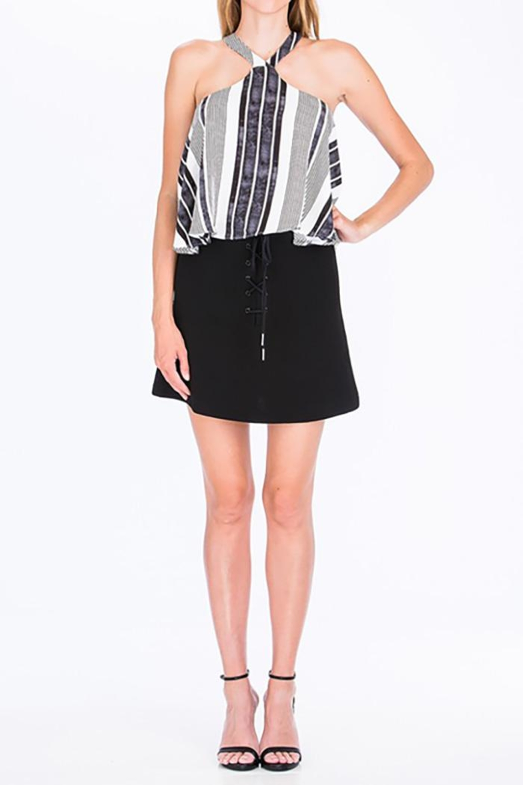 Olivaceous Shoelace Mini Skirt - Back Cropped Image