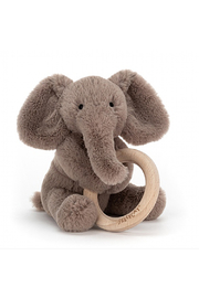 Jellycat Shooshu Elephant Wooden Rint - Front cropped