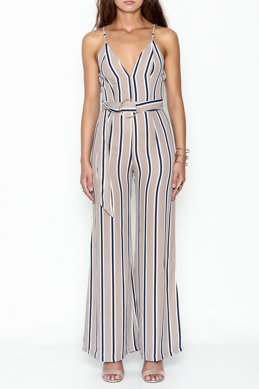 shop 17 Stripe Jumpsuit - Front Full Image