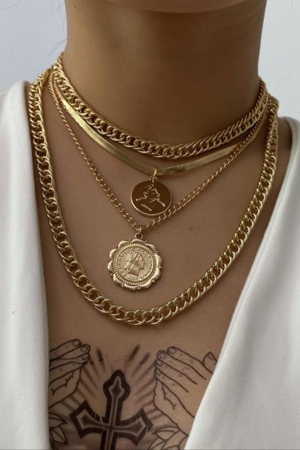 Shop Resort Layered Coin Necklace - Main Image