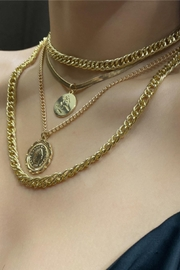 Shop Resort Layered Coin Necklace - Front full body