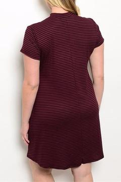 Shop The Trends  Black Burgundy Striped Dress - Alternate List Image