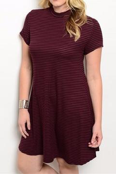 Shop The Trends  Black Burgundy Striped Dress - Product List Image
