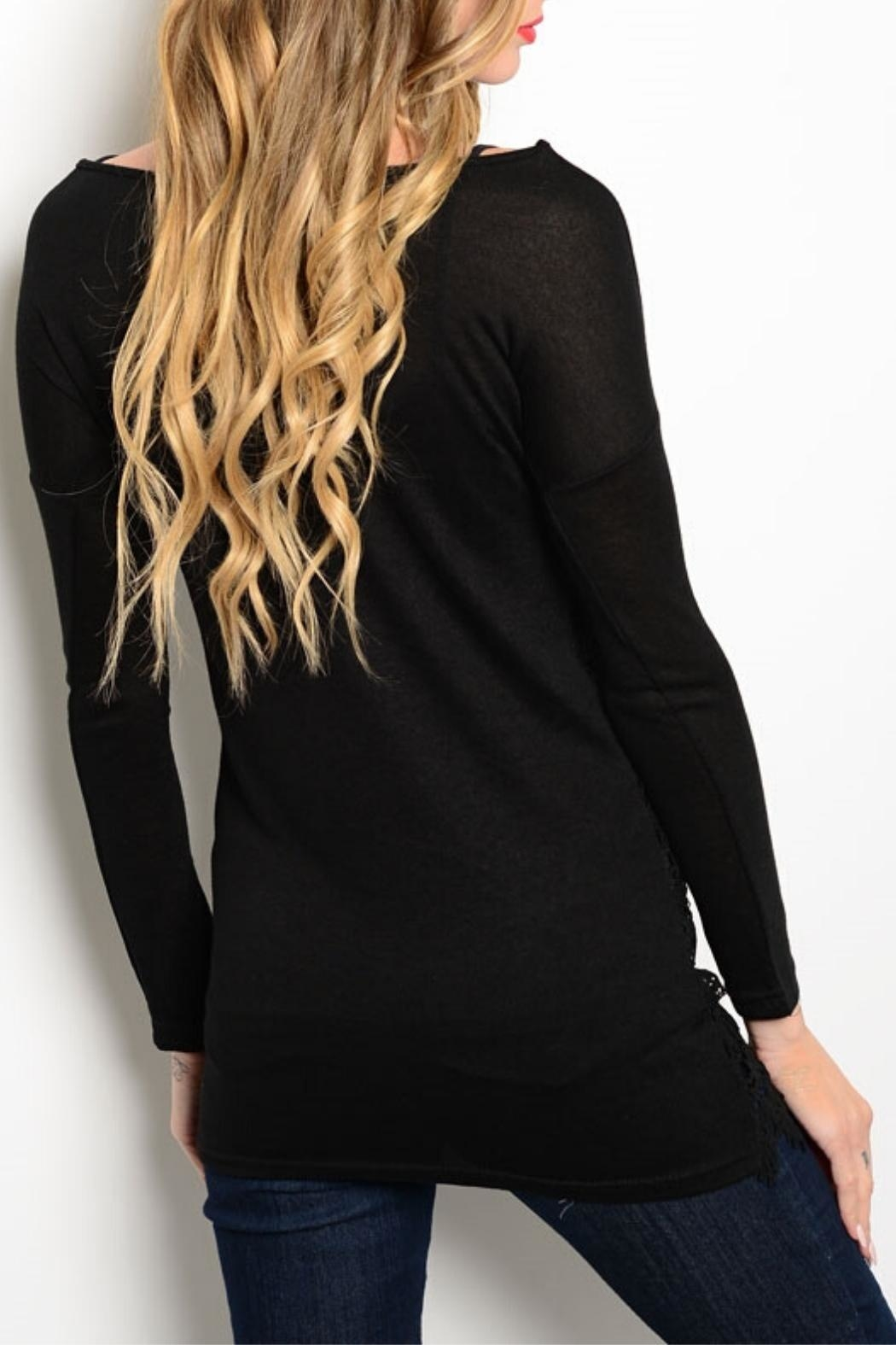 Shop The Trends  Black Crochet Tunic - Front Full Image