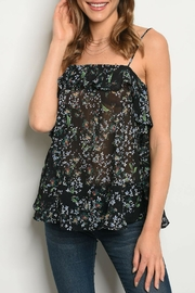 Very J Black Floral Top - Front cropped