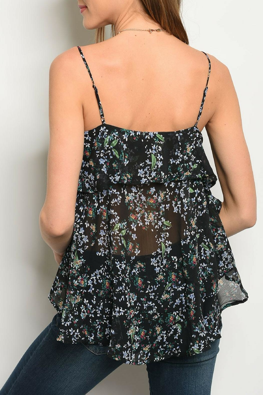 Very J Black Floral Top - Front Full Image