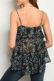 Very J Black Floral Top - Front full body