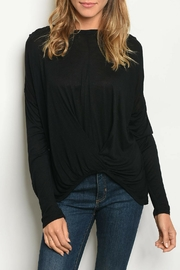 LoveRiche Black Knotted Top - Front cropped