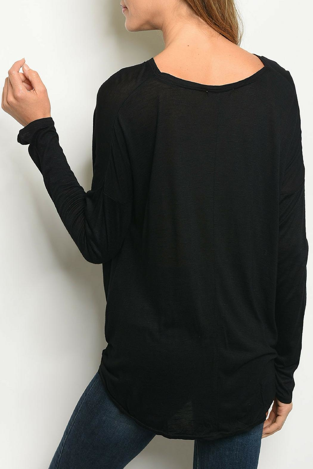LoveRiche Black Knotted Top - Front Full Image