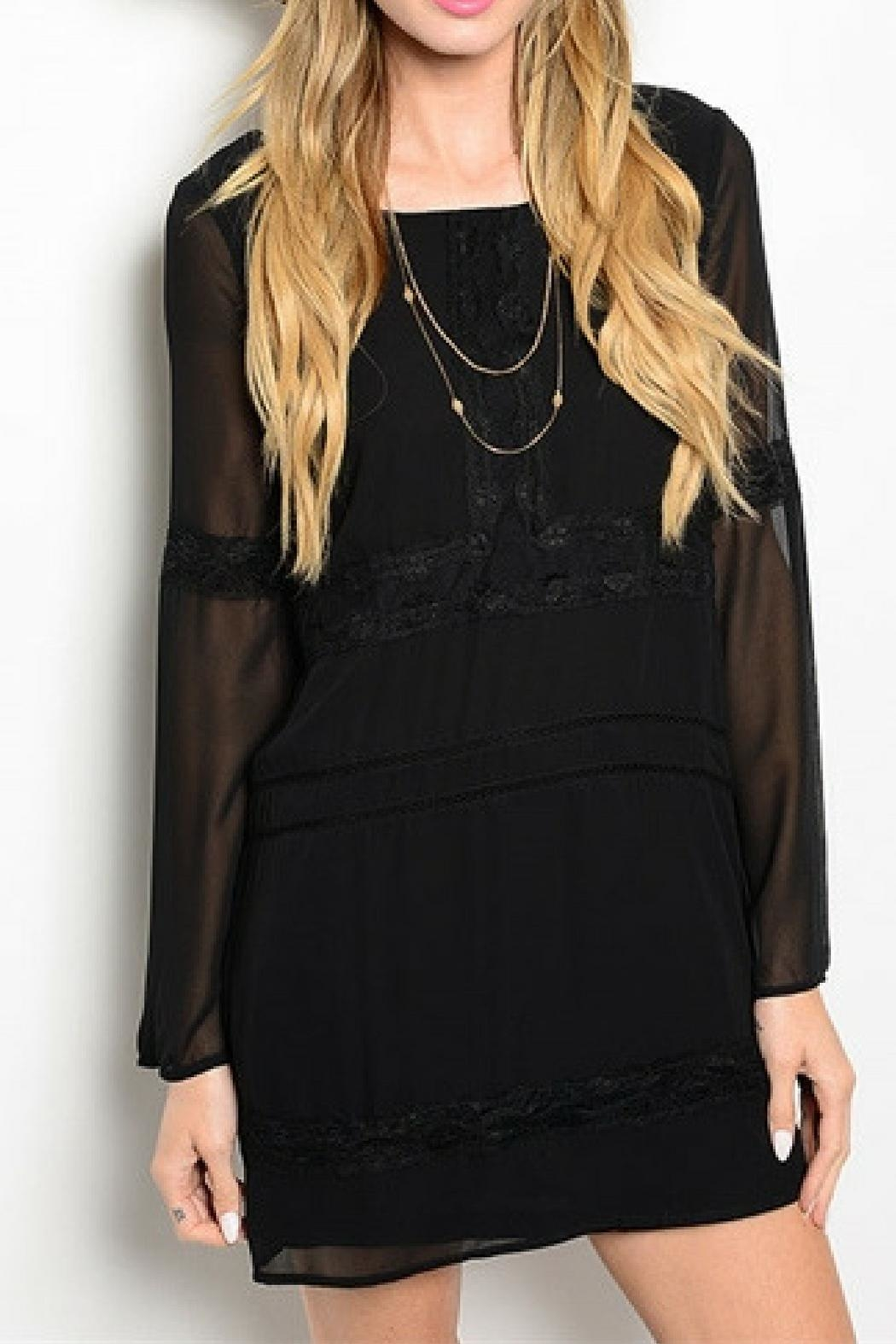 Shop The Trends  Black Lace Dress - Front Cropped Image