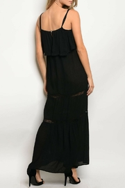 Solemio Black Ruffle Dress - Front full body