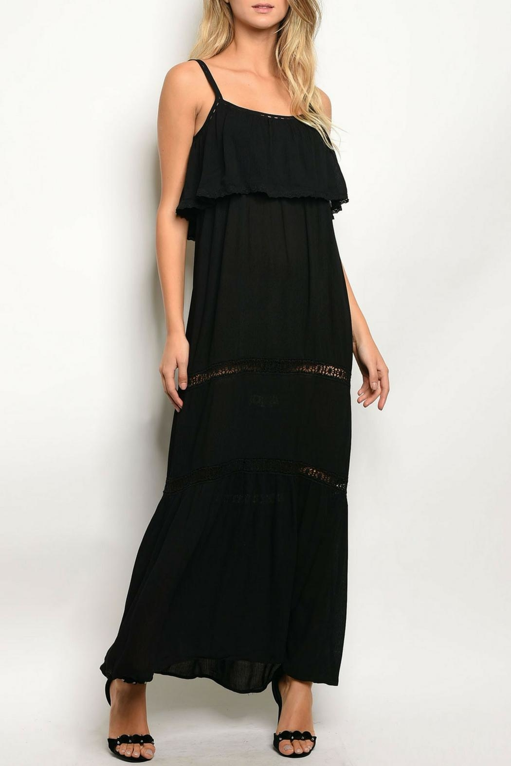 Solemio Black Ruffle Dress - Front Cropped Image