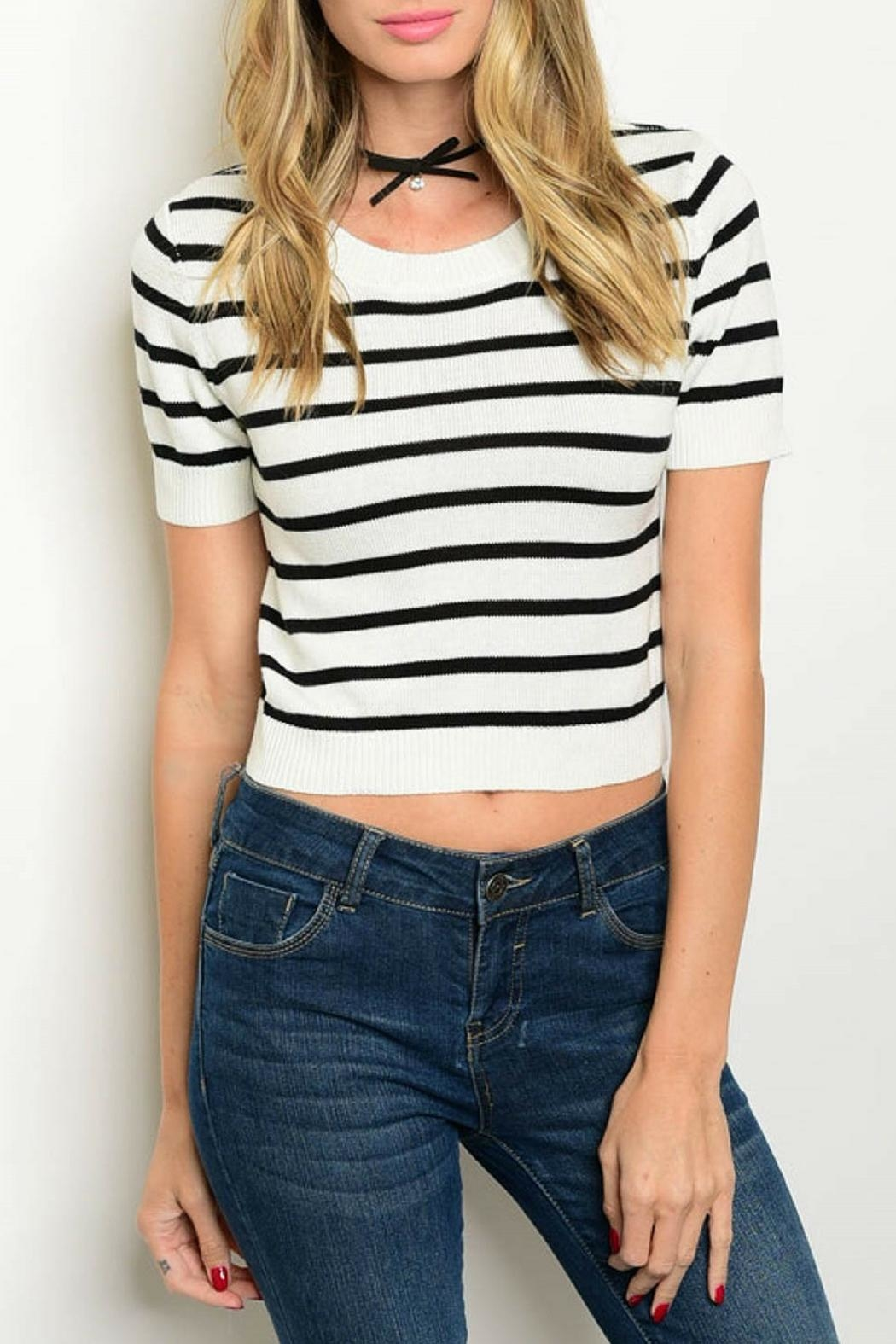Shop The Trends  Black Striped Top - Main Image