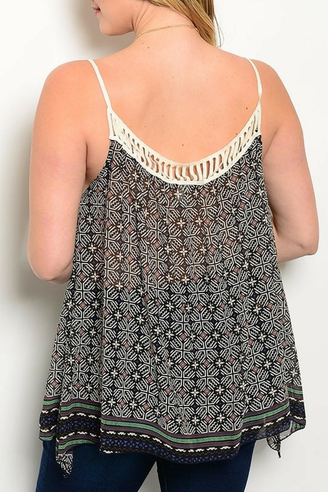 Shop The Trends  Black Tribal Top - Front Full Image