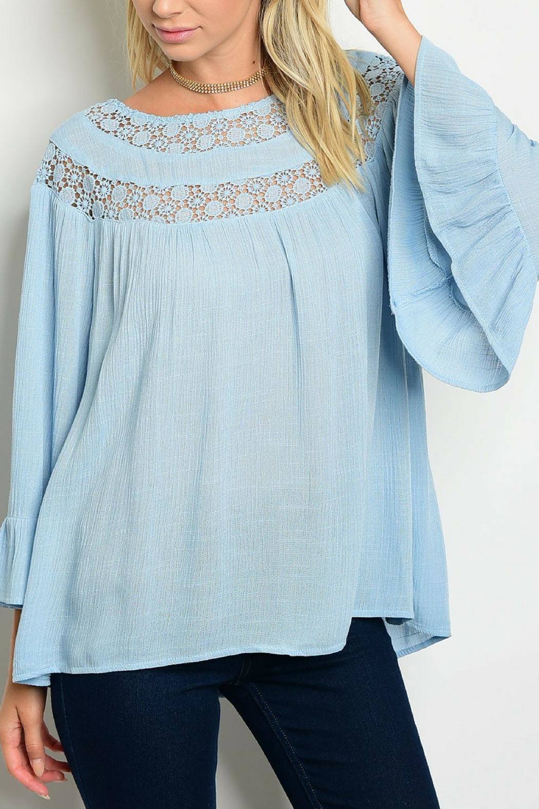 Entro Blue Crochet Top - Front Cropped Image