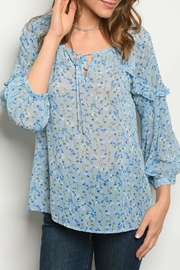 Available Blue Floral Top - Product Mini Image