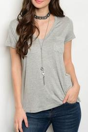 Shop The Trends  Gray V-Neck Top - Product Mini Image