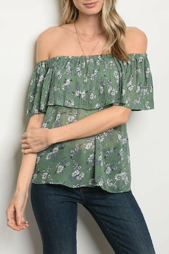 Shop The Trends  Green Floral Top - Product List Image