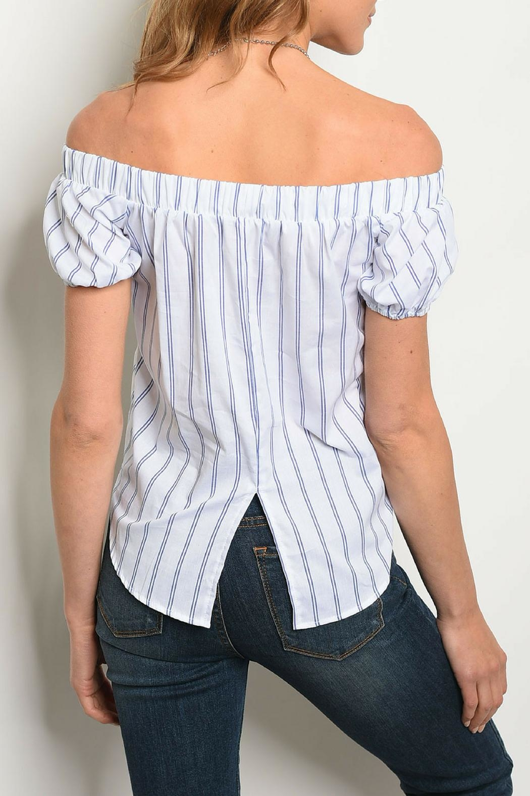 Bo Bel Ivory Striped Top - Front Full Image