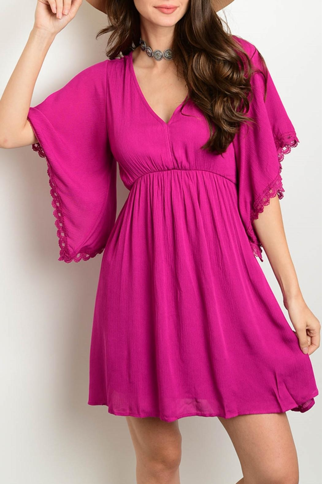 Shop The Trends  Magenta Dress - Front Cropped Image