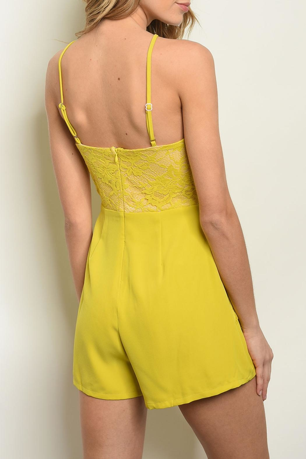 Shop The Trends  Mustard Lace Romper - Front Full Image