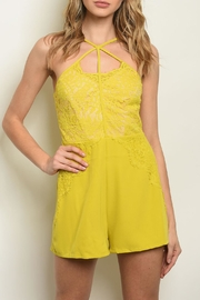 Shop The Trends  Mustard Lace Romper - Front cropped