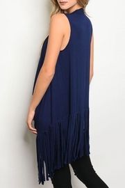 Shop The Trends  Navy Fringe Vest - Front full body