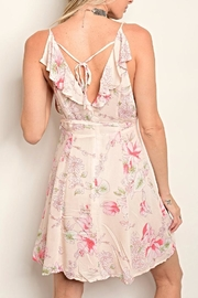 Shop The Trends  Pink Floral Dress - Front full body