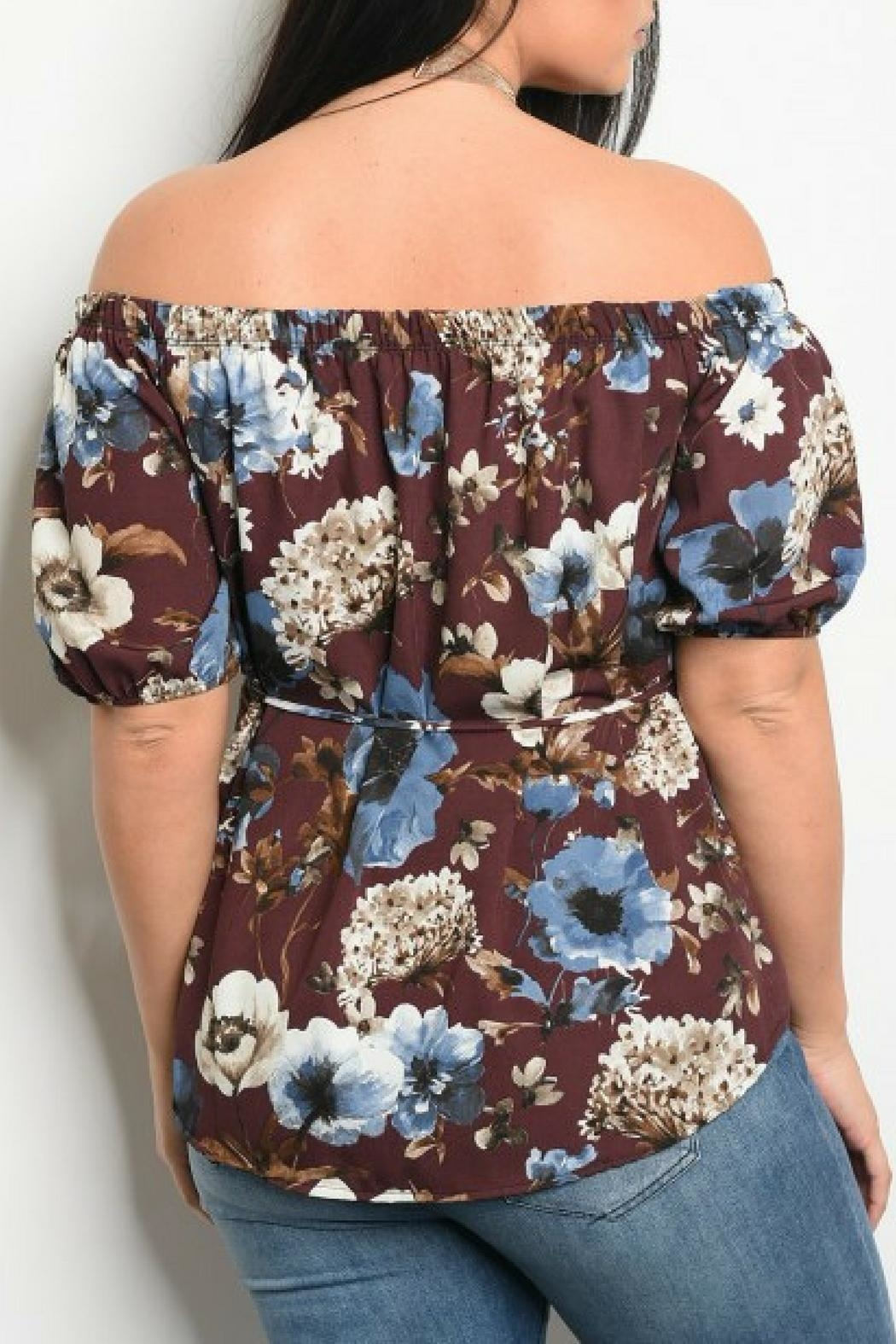 Shop The Trends  Plum Floral Top - Front Full Image