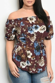 Shop The Trends  Plum Floral Top - Product Mini Image