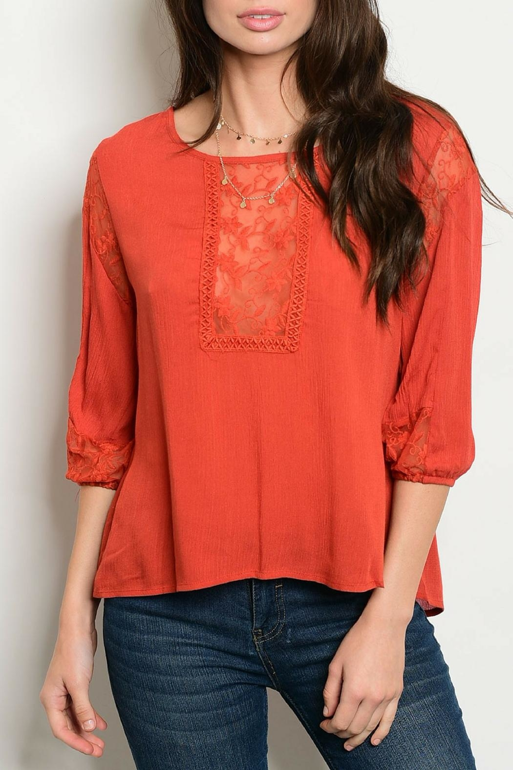 Chlah Rust Lace Top - Main Image