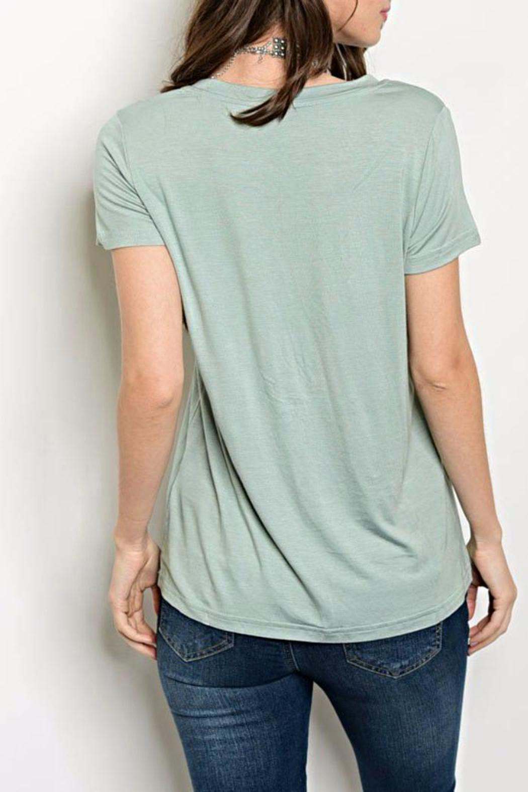 Shop The Trends  Sage Green Tee - Front Full Image