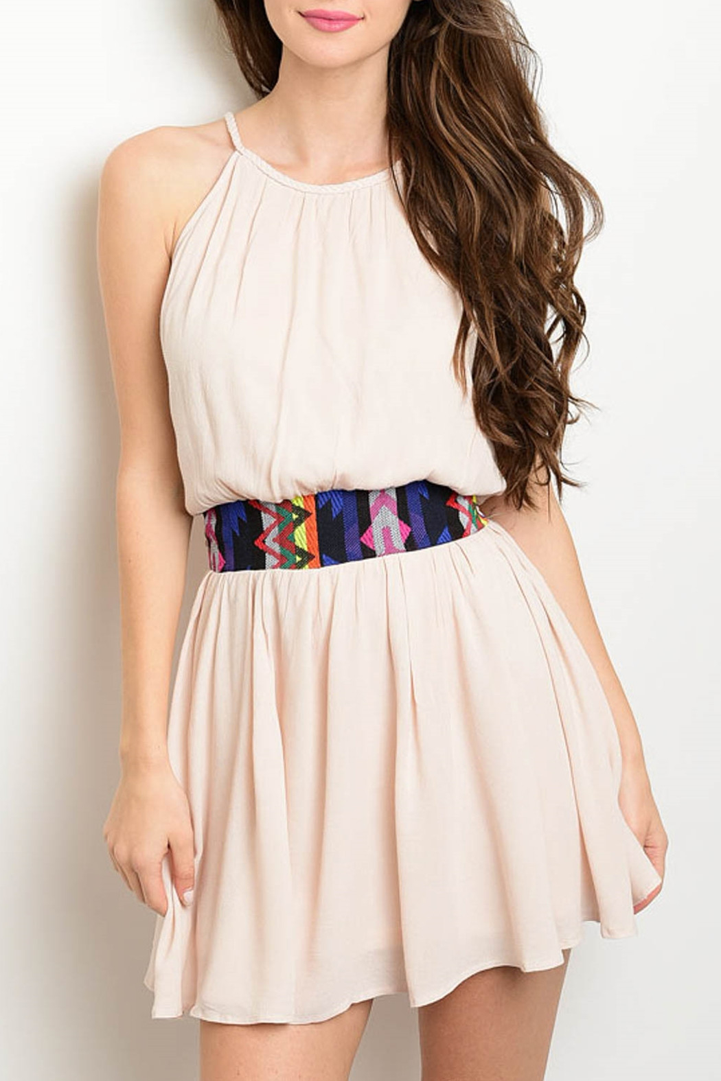Shop The Trends  Tribal Waist Dress - Front Cropped Image