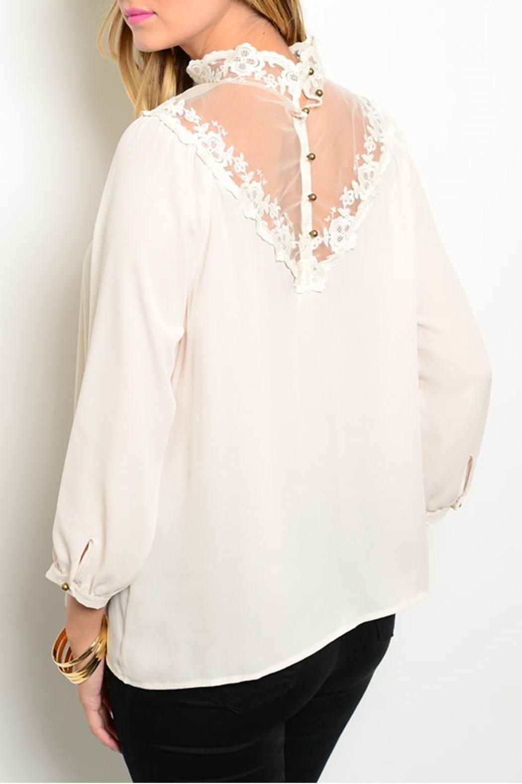 Shop The Trends  Victorian Cream Blouse - Front Full Image