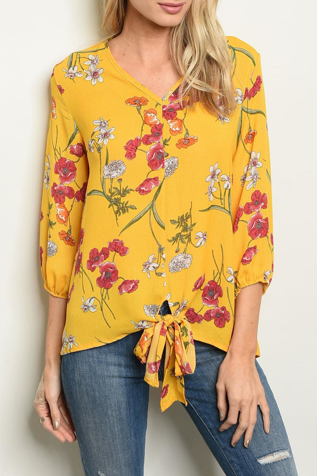 Shop The Trends  Yellow Floral Top - Main Image